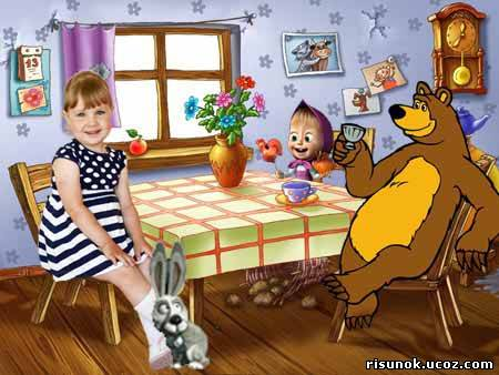 Фотошаблон костюм медведя